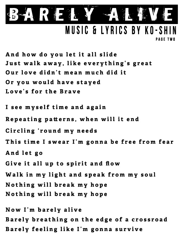 Ko-Shin – Barely Alive Lyrics